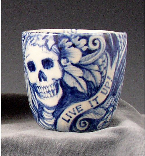 blue and white skeleton cup by PSPorcelain on Etsy