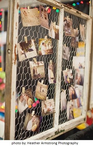 You can also hang photos on chicken wire to create more of a vintage look #graduation #party