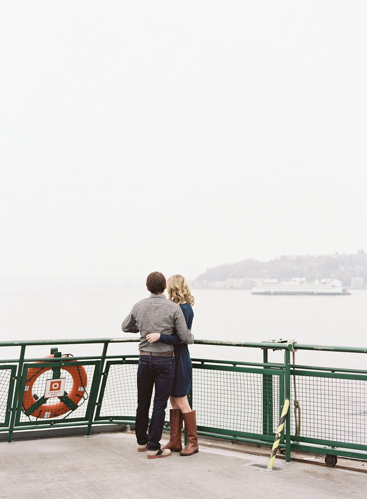 Catch a ferry ride for pretty #engagement portraits Photography: omalleyphotographers.com  View entire slideshow: Engagement Session Ideas on http://www.stylemepretty.com/collection/515/