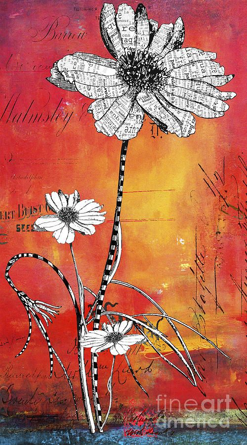 Anahi DeCanio, Typography French Floral Art Mixed Media