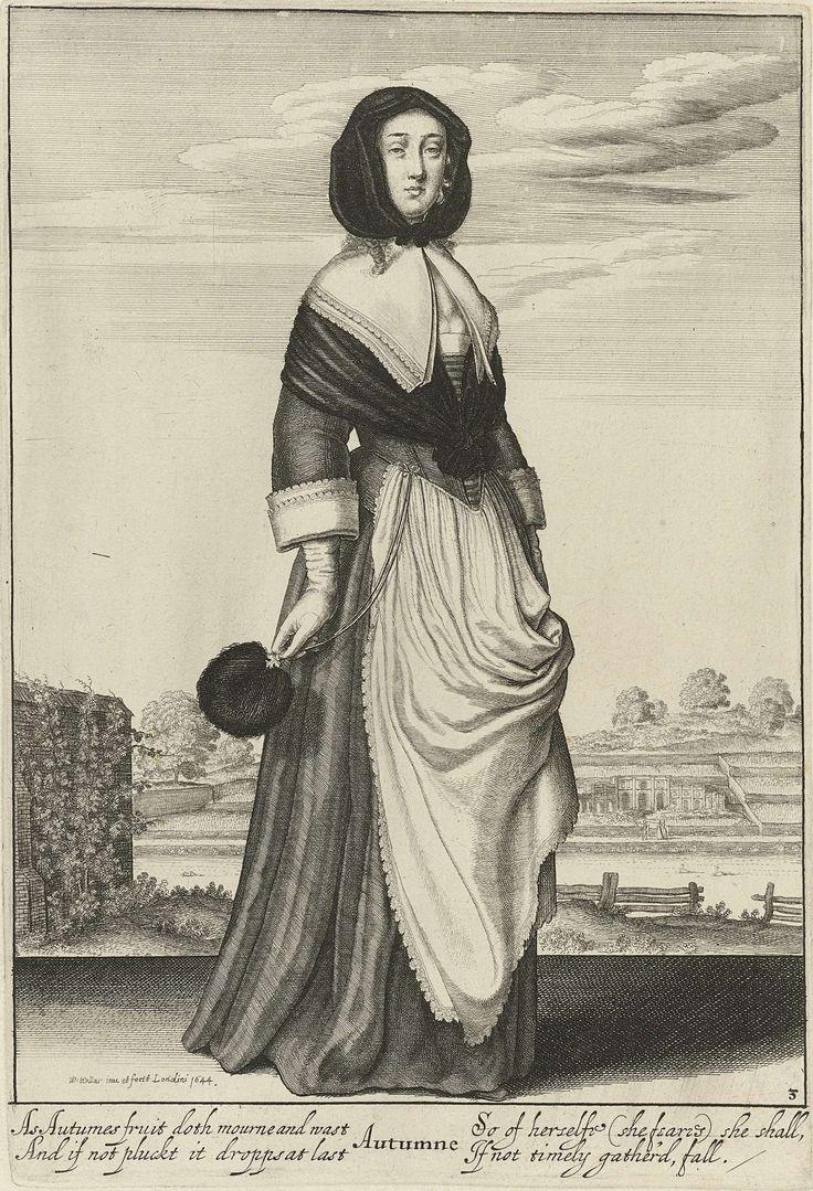 Wenceslaus Hollar   Herfst, Wenceslaus Hollar, 1644   Staande vrouw met hoofddoek en open fichu over het decolleté, als personificatie van de Herfst. Een veren stokwaaier, bevestigd aan een ketting, in de hand. Op de achtergrond een gezicht op Albury, het buitenverblijf van Thomas Howard, tweede graaf van Arundel.