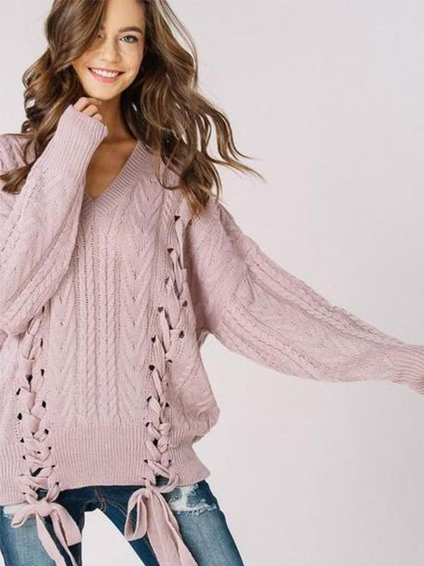 Chellysun Olwen Lace Up Cozy oversized sweaters outfits for fall and winter  cute chunky sweater cardigans for teens  sweater  outfits  outfitideas ... b677eebb1
