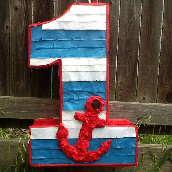 Nautical pinata number pinata 2ft  number birthday by Mylittlesofy