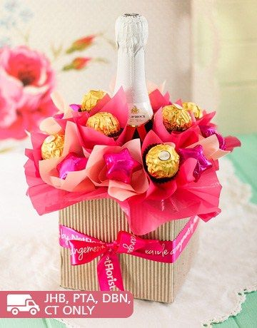Homemade Gift Ideas | Pink Sparkling Wine & Chocolate Arrangement