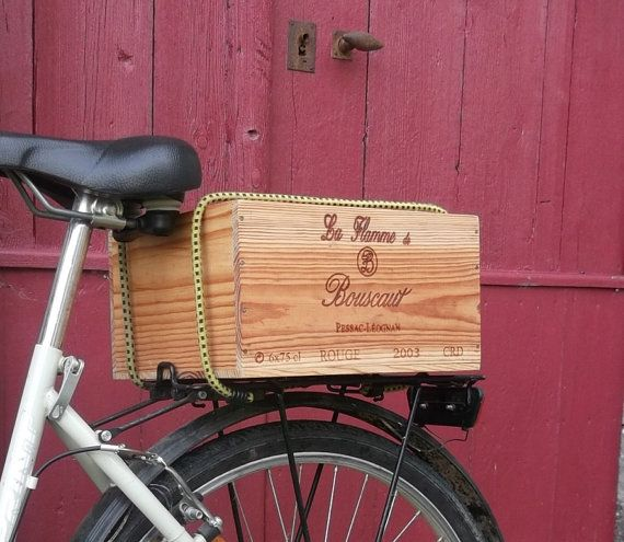 French Wine Crate Bike Basket by cadeauxdecatherine on Etsy, €34.99