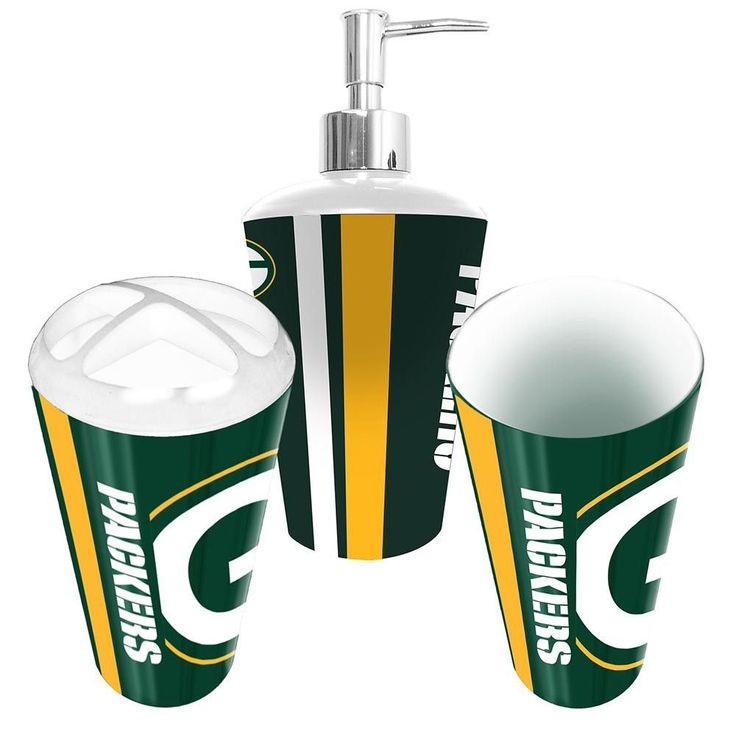 Green Bay Packers NFL Bath Tumbler, Toothbrush Holder U0026 Soap Pump (3pc Set)