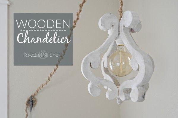 DIY Wooden Chandelier Light Fixture - Sawdust 2 Stitches