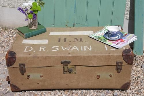 Vintage Steamer Trunk Shabby Chic Coffee Table Rustic Toy Box 1930's Trunk Chest | eBay