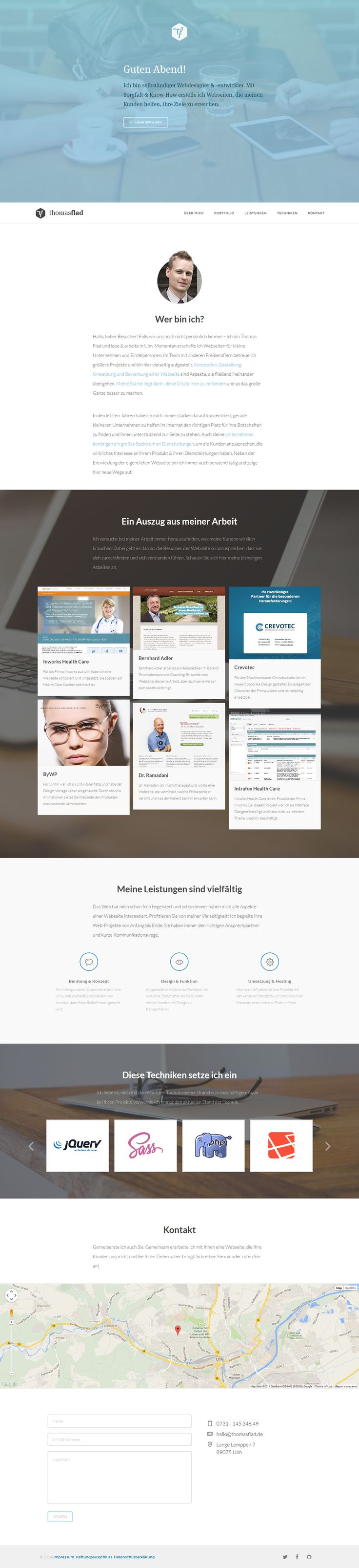 I love the shade of blue chosen for the accent colors on Thomas Flad. The transparency works well with the large image that's noticeable just enough. The fixed navigation gets started once you scroll down and has a clean, crisp appearance.  #flat #flatdesign #design #website