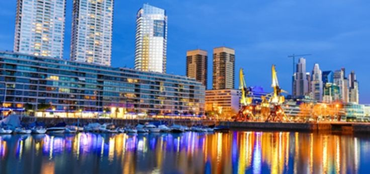 Invest in Buenos Aires. The famous neighborhood of Puerto Madero in Buenos Aires, Argentina at night.