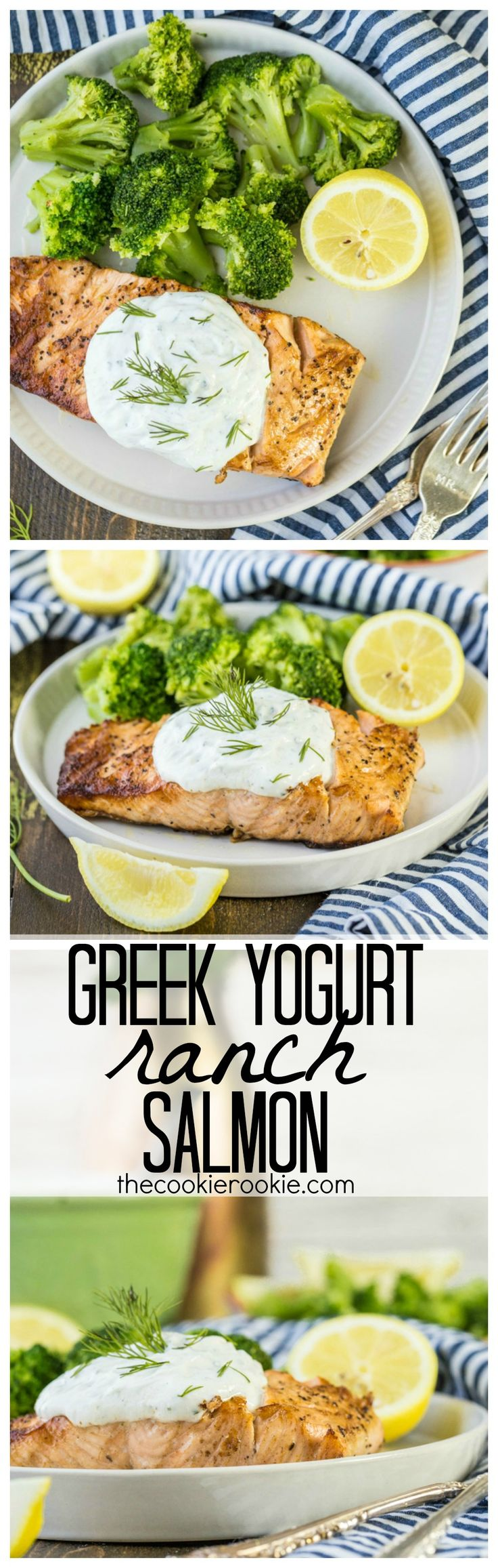 Greek Yogurt Ranch Salmon, a healthy and easy DELICIOUS dinner that anyone can make in minutes. OUR FAVORITE meal on the grill! #ad #HiddenValleyGreek