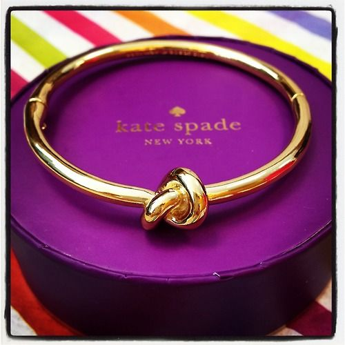 """Kate Spade gold knot bracelet. Bridal party gift - thanks for helping me """"tie the knot"""" so cute.<3"""