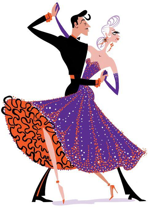 Beautiful illustration of a couple doing the cha-cha! #dance #ArthurMurray