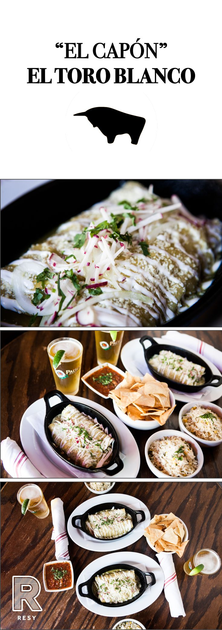 """El Capón"" is chicken enchiladas, chips, salsa and a Pacifico at El Toro Blanco in NYC - one of the city's favorite Mexican Restaurant & Tequila Bars.   Reservations are pre-paid for two guests and are booked exclusively via Resy.  Download the app and grab a seat!"