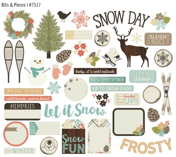 Cool, crisp hues paired with frosty florals & warm winter woodgrains combine to create the delightful palette of Winter Wonderland. With coordinating stickers, chipboard, washi, & other embellishments, Winter Wonderland will leave you hoping for a snow day to stay in & create!