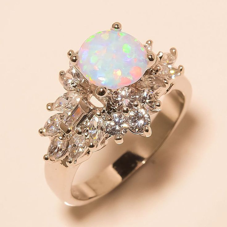 Rainbow Fire Milky Opal, White Topaz 925 Sterling Silver Jewelry Ring 8 #Handmade #Cocktail