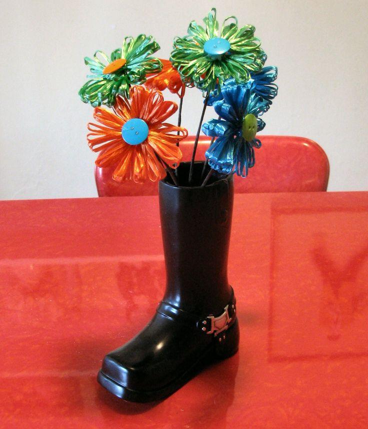 Kitchen Table Vases: Kitchen Table Centerpiece: Ceramic Motorcycle Boot Vase