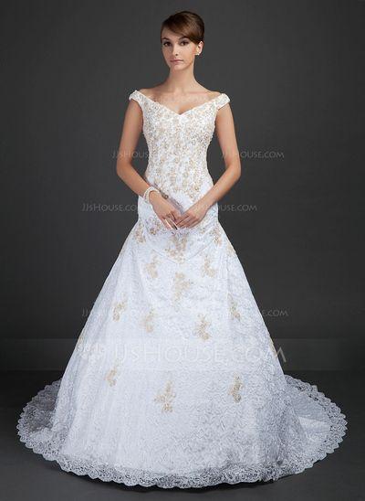 Wedding Dresses - $226.99 - A-Line/Princess Off-the-Shoulder Chapel Train Satin Lace Wedding Dress With Beading Appliques (002015363) http://jjshouse.com/A-Line-Princess-Off-The-Shoulder-Chapel-Train-Satin-Lace-Wedding-Dress-With-Beading-Appliques-002015363-g15363