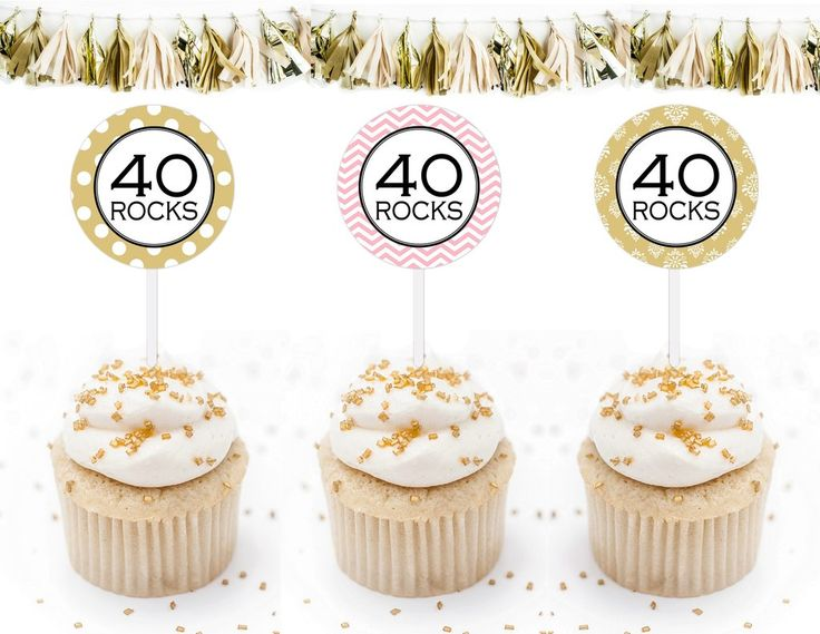 Printable 40th Birthday, 40 Rocks Cupcake Toppers,