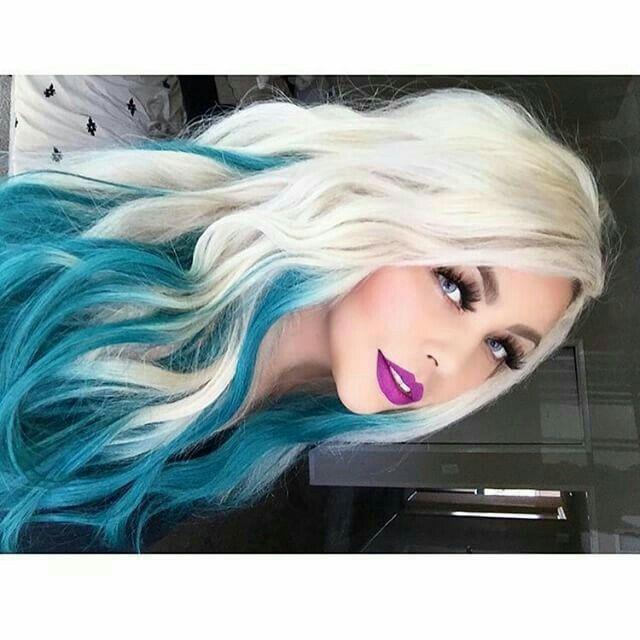 White and blue hair