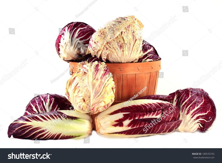 Spilled on pile and in wooden bushel basket different Radicchio, Radicchio Treviso or Italian Red Lettuce, Radicchio Castelfranco, Radicchio Italian Chicory for gourmet salads over white background