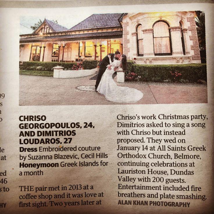 Thankyou Sunday Telegraph 👌   #gardenweddings #sydneyweddingvenue #heritagevenue #weddings #luxurywedding #historicvenue #bride #love #lauristonhouse