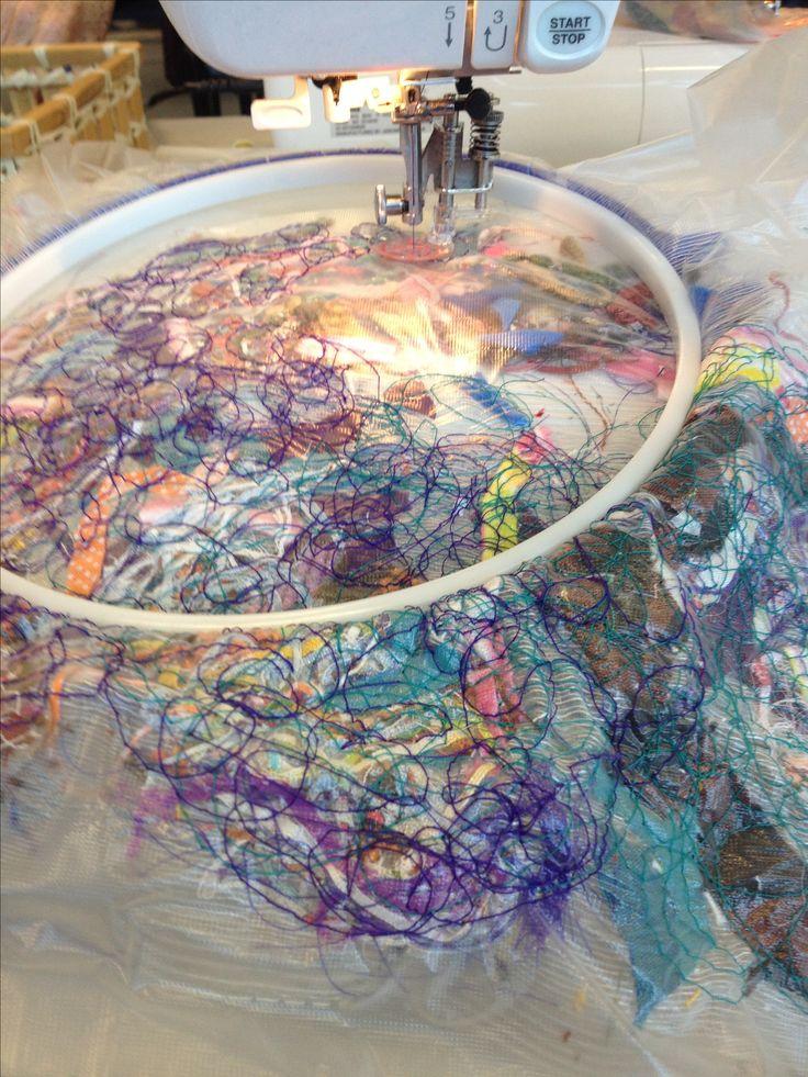 Machine crazy embroidery using scrap fabric between Juliet dissolvable fabric