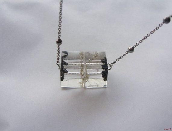 Resin cube necklace with Chelyabinsk meteorite and a real by zusnA