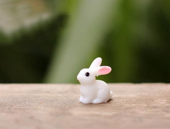 10PCS,2*1.8*1CM Mini Plastic Cabochon Small Rabbits,Moss Rabbit Artificial Animal,Terrarium Gnomes Figurines,DIY Home Ornaments