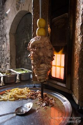 Shwarma cooking in the souks of Tripoli - a staple in Lebanese food.