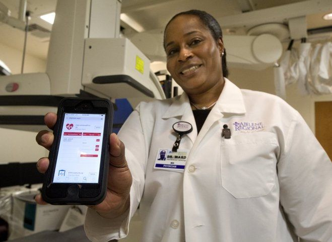 Nellie Doneva/Reporter-News Dr. Charisse Ward, an interventional cardiologist at Abilene Regional Medical Center, has developed two apps for physicians and is unveiling a new one for patients called Cardio Tracker.