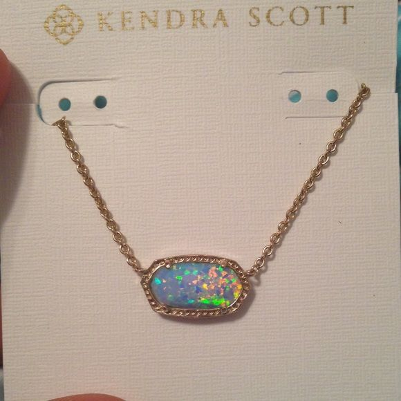 Kendra Scott opal Elisa Kendra Scott blue opalite Elisa *custom! Super cute! Slight tarnish on chain and back but unnoticeable when wearing Kendra Scott Jewelry Necklaces