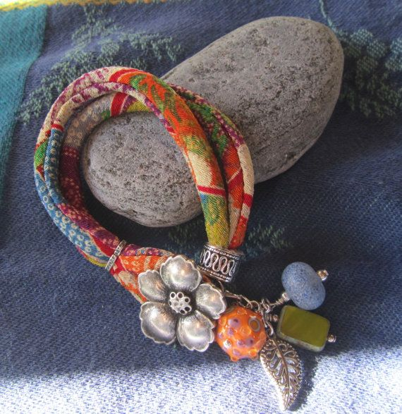 Multicolored Chirimen Kimono Cord Bracelet Gold by JemsbyJoan