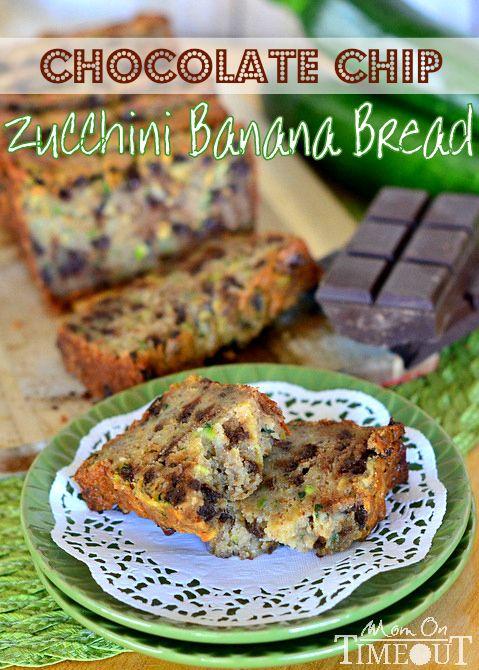 Chocolate Chip Zucchini Banana Bread   MomOnTimeout.com