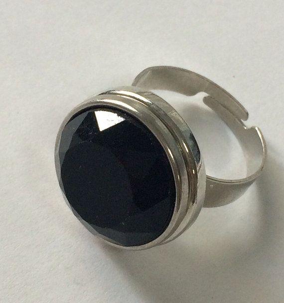 Adjustable ring, black Ring, Ring Snap Button, Button ring, elastic metal ring, spring jewelry, spring ring