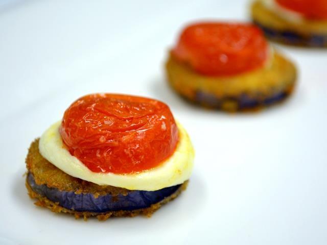 ... : panko fried Japanese eggplant, bocconcini, cherry tomato confit