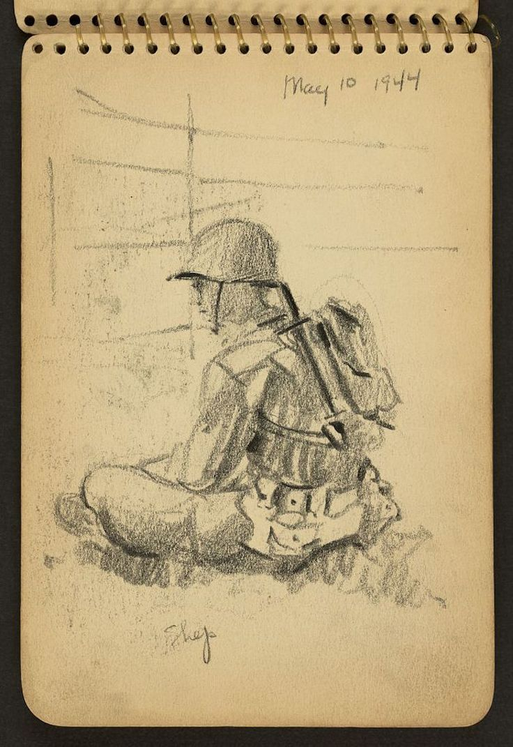 """Victor Lundy's record of World War II, in the form of documentary sketches. For Lundy, """"drawing is sort of synonymous with thinking,"""" which means we are left with an intimate archive of sketches that unfold one soldier's experience"""