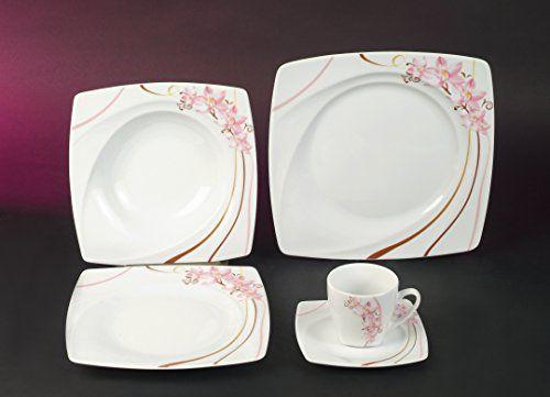 Madame Orchidee Dekor Kombi Service 35 teilig Neu Eckig Porzellan Geschirr Set 6 Personen