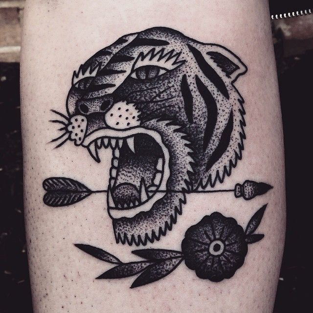 tiger tattoo black traditional dot shading