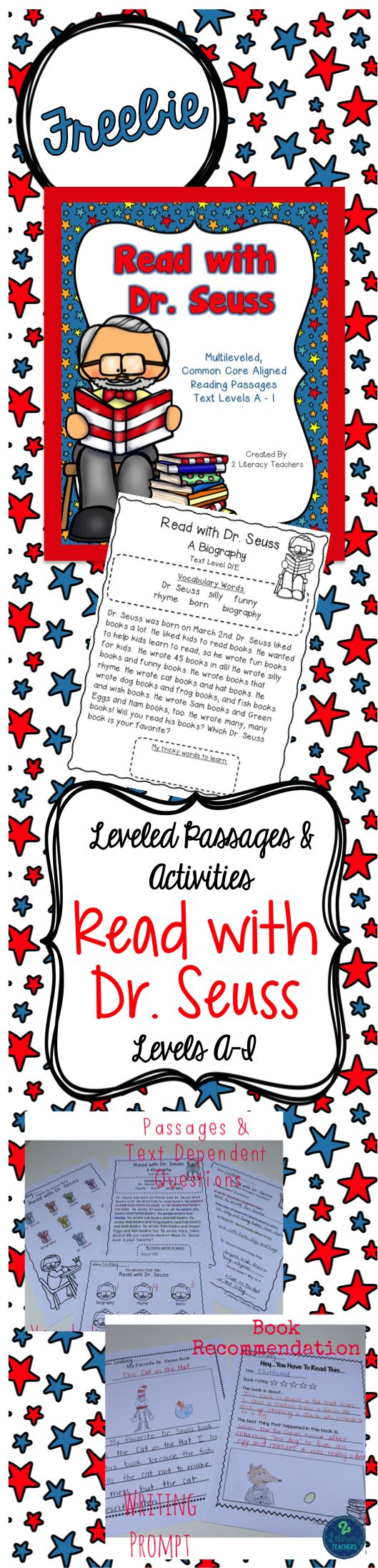 FREEBIE!!!! Read with Dr. Seuss leveled passages and activities. Perfect for Read Across America Day! These passages are great for learning about the man behind many great books. Perfect for guided reading and whole group differentiation!