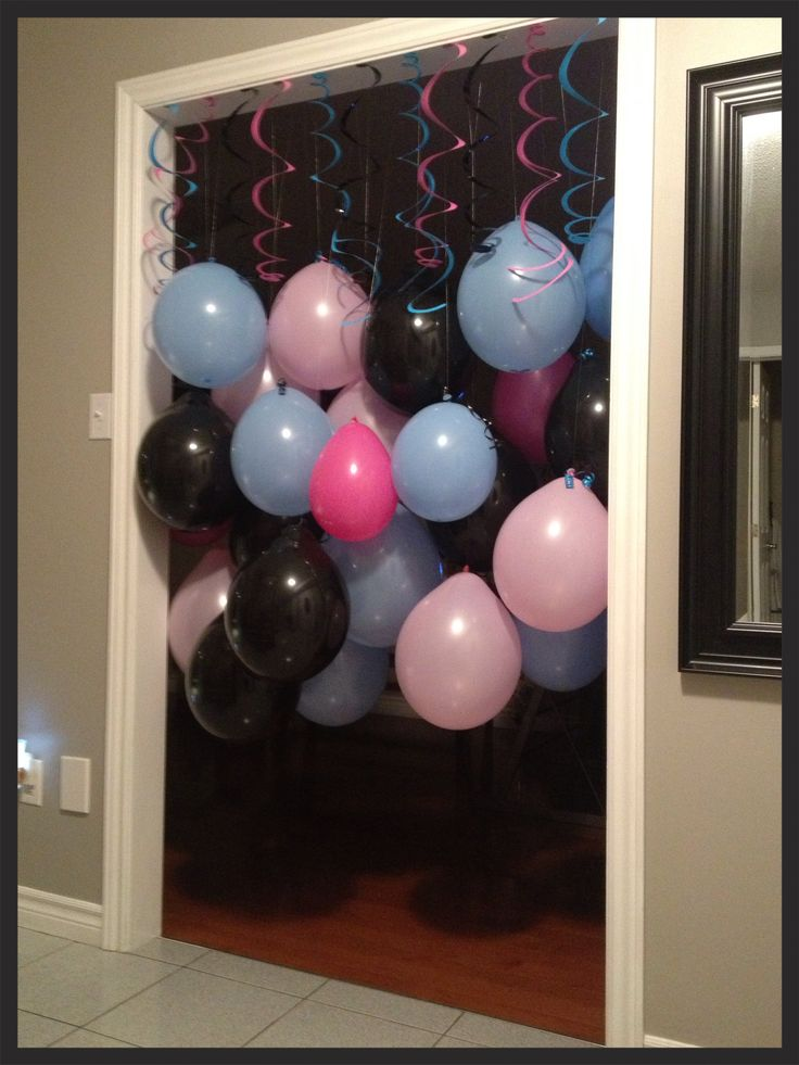 Balloon door way!!!  This is the perfect way to hide a room you don't want seen!!    Used balloons, fishing line, marbles & tape.  Be sure to put a marble in the balloon to keep in hanging downwards.  #balloon #party #birthday