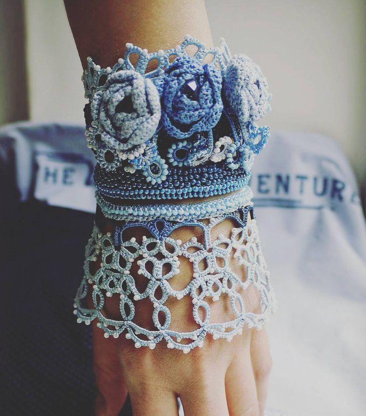 "@Regrann from @dolenata_frivolite -  Широкий браслет "" В моем саду "" ( вариант…"