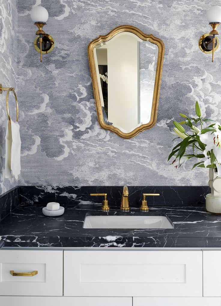 This Powder Bath Has So Many Details We Love Including The Black Marble Counterto Black Marble Bathroom Wallpaper Interior Design Marble Countertops Bathroom
