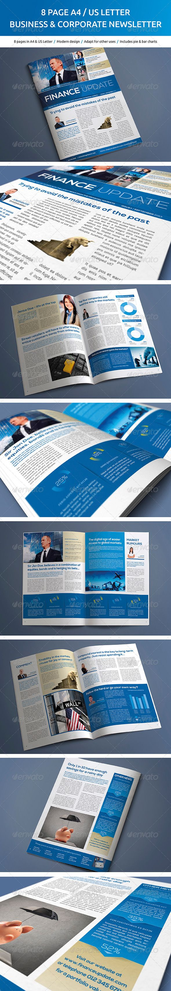 8 Page Business and Corporate Newsletter - Newsletters Print Templates