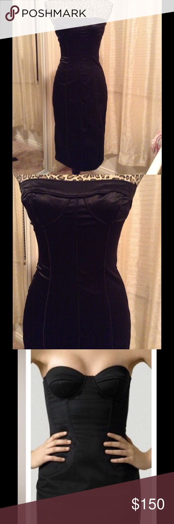 D&G Strapless Corset Stretchy Dress Size 42 converts to US 4/6, worn once, satin material, stretchy, below knee length D&G Dresses Midi