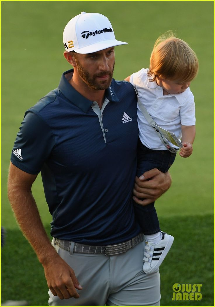 Dustin Johnson Celebrates US Open Win with son Tatum.