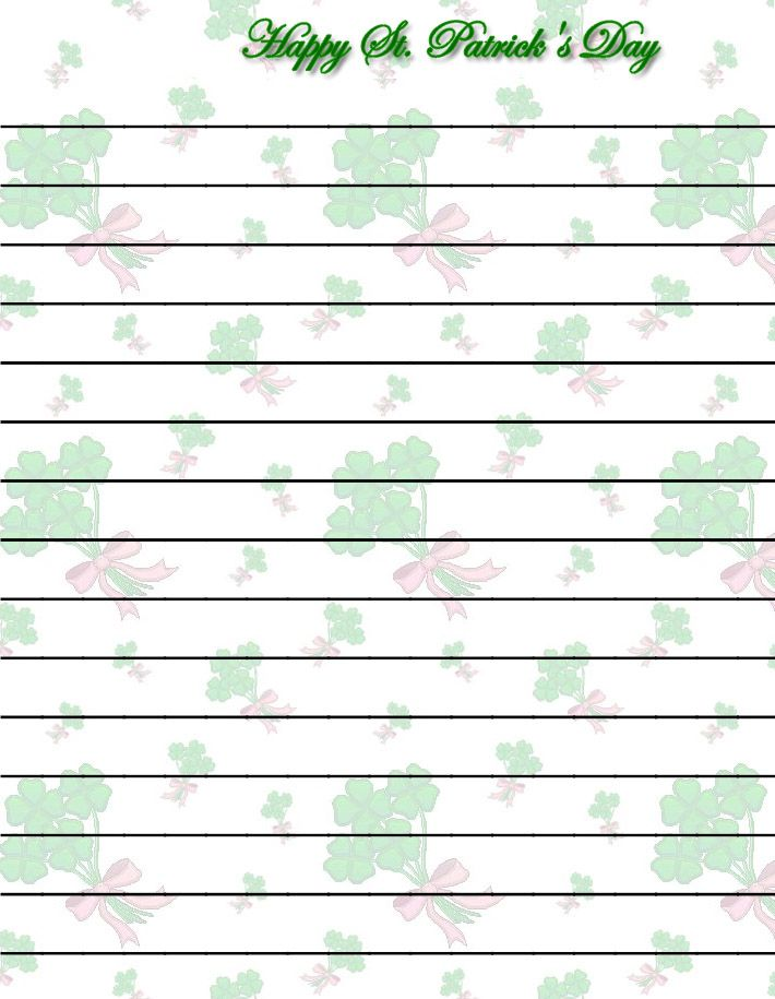 108 best St Patricku0027s Day Stationery images on Pinterest Contact - free printable lined writing paper