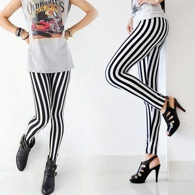 New Lady Fashion Skinny Chic Look Vertical Stripe Zebra Leggings Pants Useful
