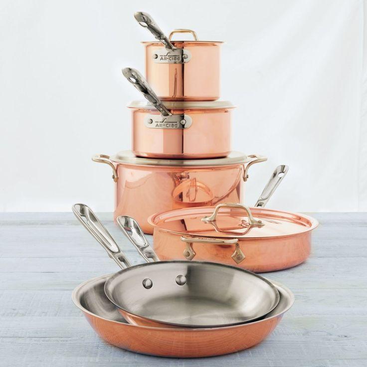 All clad copper clad 10 piece set sur la table kitchen for 10 piece kitchen table set