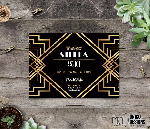 50th Invitation Printable / 1920s Theme / by UnicoDesignsInvites